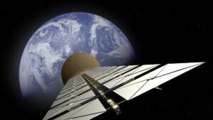 A satellite with solar panels