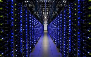 A server farm - one of the biggest sources of greenhouse gases